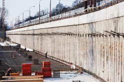 A secant pile wall anchored at one level; after the surface milling; the River Park Bratislava, Slovakia