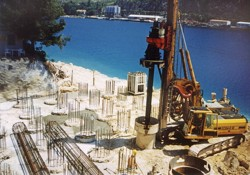 A field of bored piles; foundation of a new bridge abutment over the Dubrovacka River in Croatia