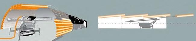 Vytváření obálky z jednotlivých sloupů tryskové injektáže pro zajištění následného výrubu štoly tunelu. Zajištění kaloty tunelu a následná ražba štoly se provádí po jednotlivých krocích.